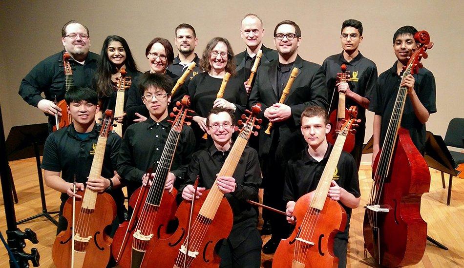 Phillip Serna co-directing Adlai E. Stevenson High School period-instrument Baroque ensemble & viol consorts