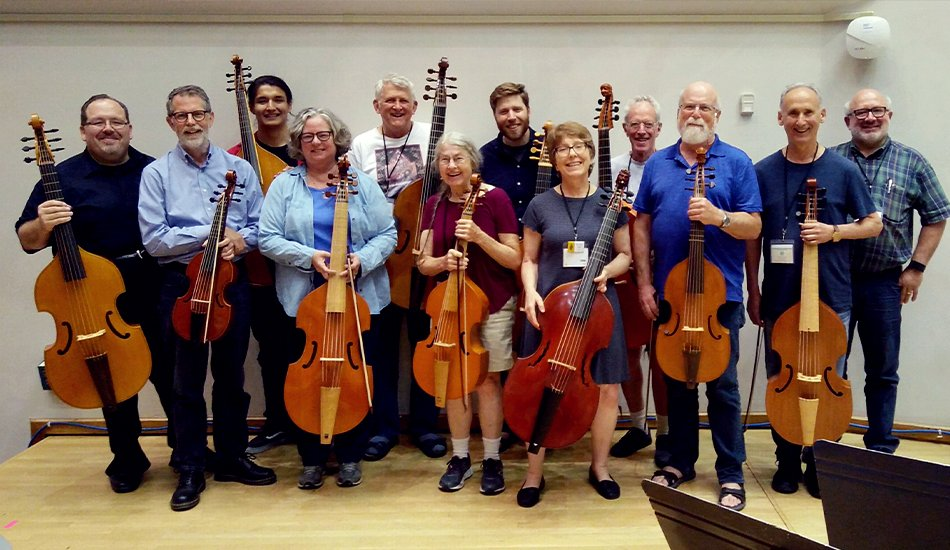 Madison Early Music Festival viola da gamba faculty Phillip Serna, Eric Miller & Lisa Terry with students.