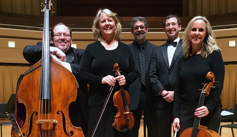Phillip Serna with his North Central College faculty colleagues Mara Gallagher, Jon Warfel, Ben Nadel & Claire Langenberg at Wentz Hall, Naperville, IL.