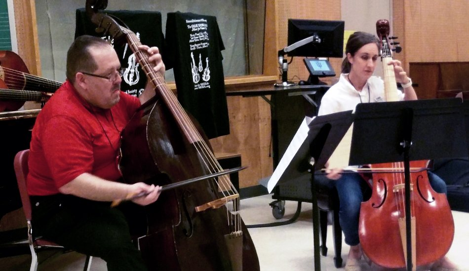 Phillip Serna & Jessica Powell Eig co-presenting Take a Walk on the Viol-Side - An Introduction to Period Bass for the Young Bassists Program at the 2019 International Society of Bassists Convention at Indiana University's Jacobs School of Music in Bloomington, Indiana.