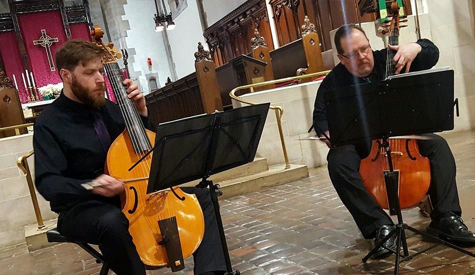 Phillip Serna Performing with the period-instrument ensemble Viol Medium in La Grange, IL