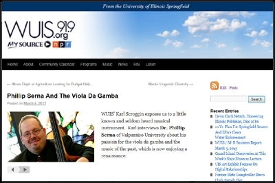 WUIS/ NPR from the Suggs Performance  Studio - Phillip Serna And The Viola Da Gamba, March 4th, 2013