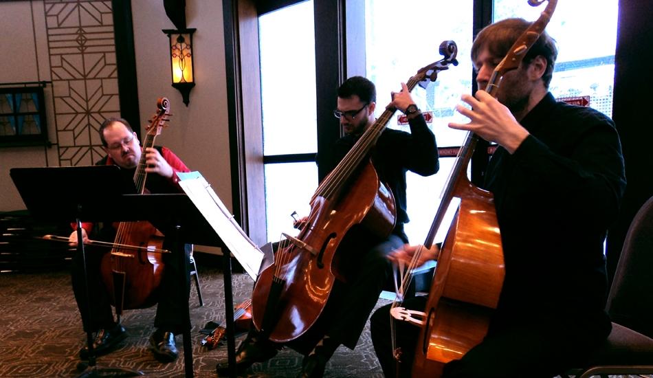 Phillip Serna, Jeremy Beyer & Eric Miller performing at the Chicago Bass Festival, Bennett Gordon Hall, Ravinia, Highland Park, IL.