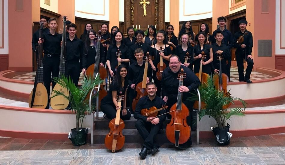 Phillip Serna co-directing Adlai E. Stevenson High School period-instrument Baroque ensemble & viol consorts at the Boston Early Music Festival.